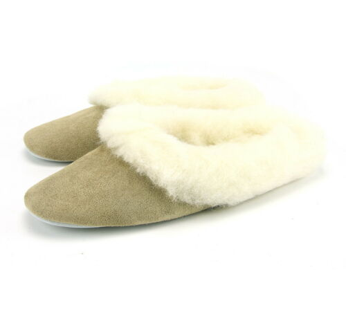 Genuine Wool Lined Real Suede Backless Slippers Mules 3-8 Made In Britain