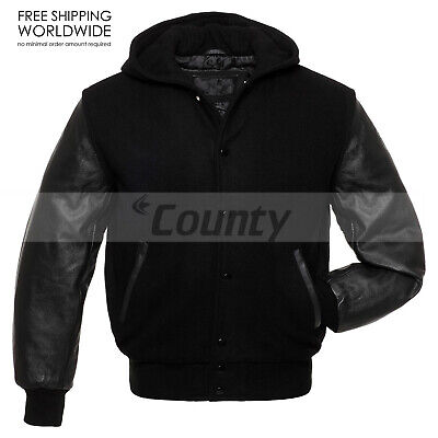 Varsity Bomber Letterman Baseball Hoodie Jacket Black Body ...