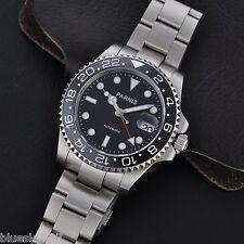 40mm Sapphire Glass Parnis Ceramic Bezel GMT Style Men's Date Auto Wrist Watch
