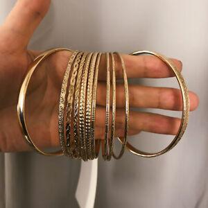 Retro-Gold-Plated-Bangles-Bracelets-Set-Women-Circle-Metal-Chain-Jewelry-Gi-JT