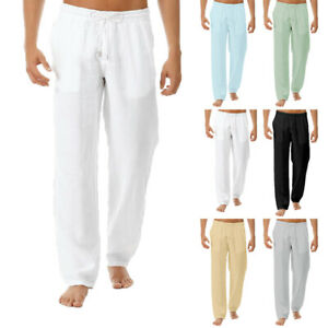 Mens-Casual-Harem-Trousers-Cotton-Linen-Baggy-Loose-Oversized-Yoga-Hippy-Pants