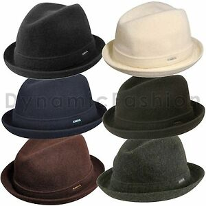 Image is loading 100-Authentic-KANGOL-Wool-Player-Fedora-Trilby-Hat- b49a45c5034