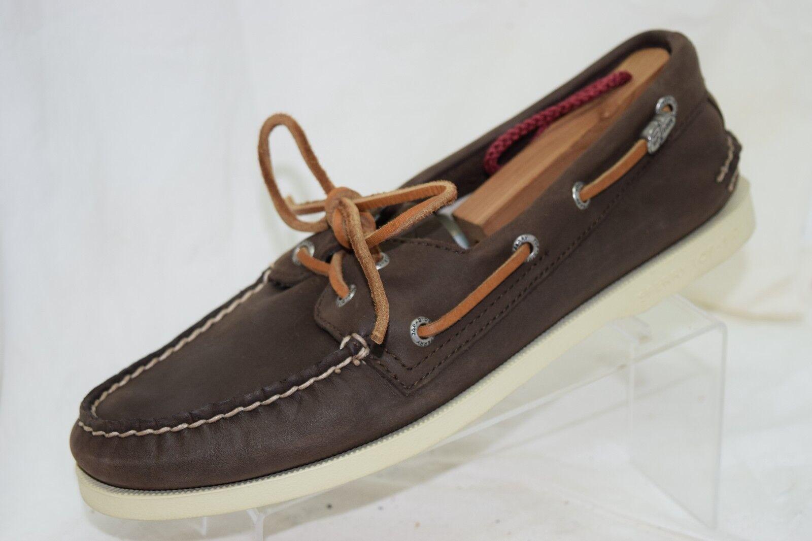 Sperry Top Sider Brown Leather Original Boat shoes Loafer Moc Toe EUC Men's 8 M
