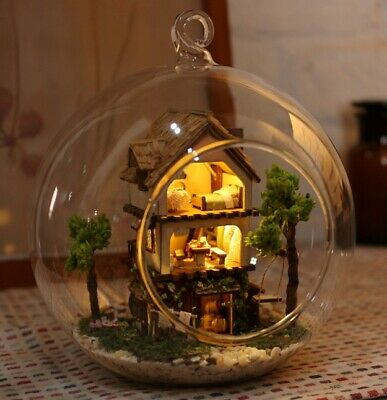 DIY Mini Glass Dollhouse Ball Miniature LED Light Dream Doll House Kit Ornaments