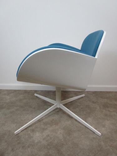Mid century modern kimball splendor office guest chair blue white swivel shell