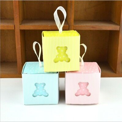 50//100pcs Baby Shower Favors Candy Box Christening Gift Baptism Birthday Party