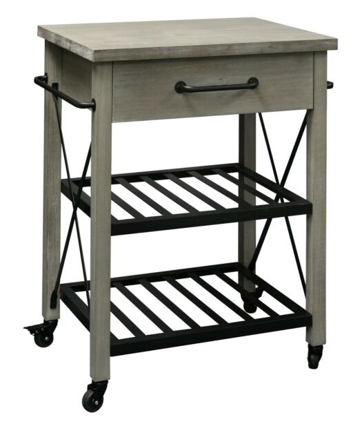 eHemco Rustic Kitchen Cart Solid Pine Wood Top with Metal Base and 1 drawer  and