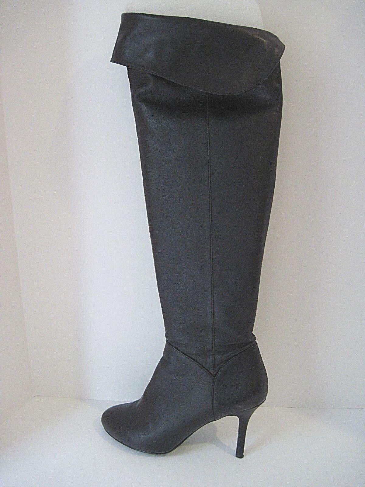 ZARA WOMAN  Black Leather Tall Over Knee Half Zip Heel  Boot  Size 39