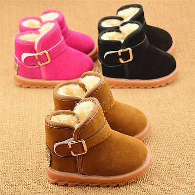 New toddler snow boots baby boys girls warm winter short boot shoes size 5-12