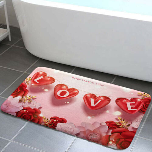 Valentine/'s Day Balloon Shower Curtain Toilet Cover Rug Bath Mat Contour Rug Set