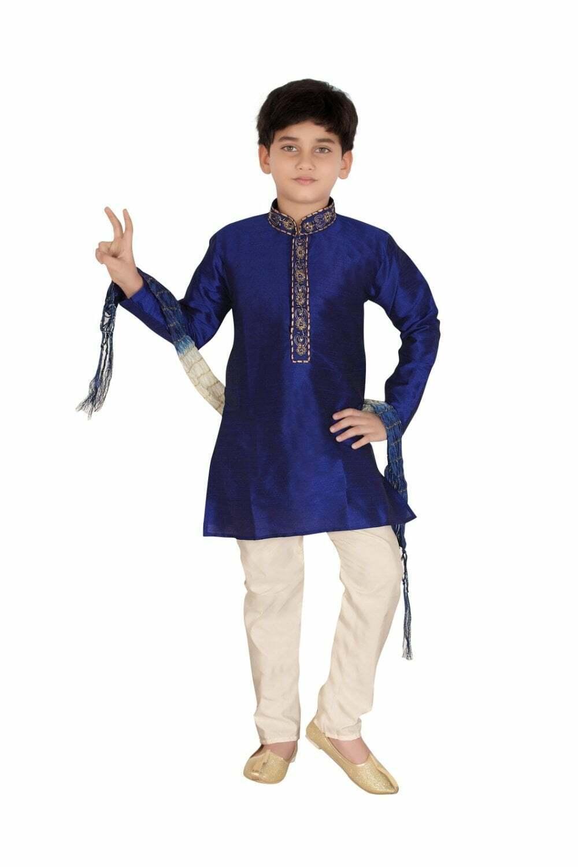 Blue and Ivory Boy's Kurta Pyjama