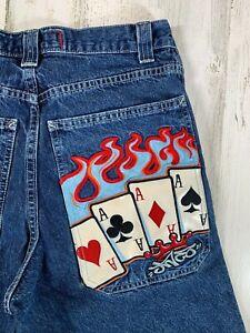 Vintage-JNCO-Jeans-Flaming-Aces-Wide-Leg-Size-32x30