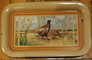 Vintage-1950-039-s-Metal-TV-Serving-Tray-with-Pheasant-Design-14-034-x-8-75-034