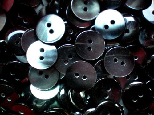 Z159 Petite 15mm 24L dark acier gris perlé 2 trous boutons chemise de qualité