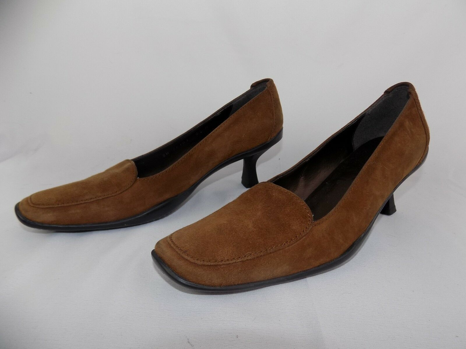 STUART WEITZMAN HEELS SIZE 6.5 M BROWN SUEDE LEATHER SHOES