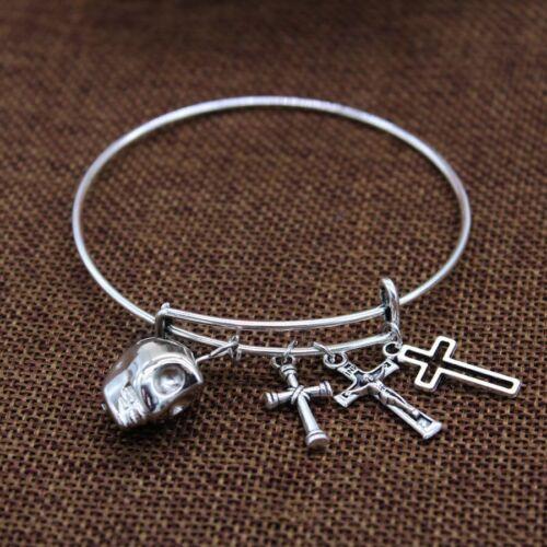 Box #BL146 Stainless Steel Silver Jesus Cross Pendant Bangle Womens Bracelet