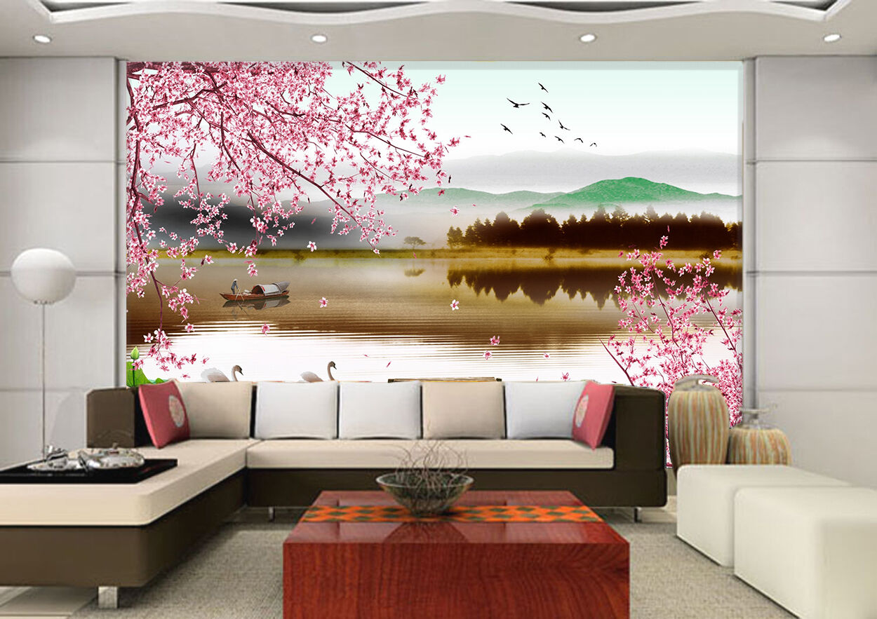 3D River, flower, boat 324 Wall Paper Print Wall Decal Deco Indoor Wall Murals