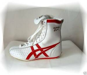 847a072b1b975 Chaussures Baskets Montants Blanc et Rouge Tiger Onitsuka Asics ...
