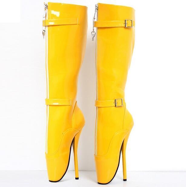 Damenschuhe Patent Leder Knee High Stiefel Heel Ballet Schuhes Sexy High Heel Stiefel Stilettos New b9adbd