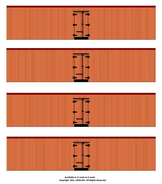 4 undecorated orange color 40' boxcars S scale printed reefer sides