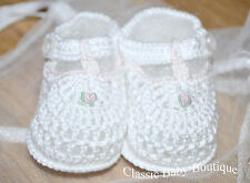 NWT Petit Ami White Pink T Strap Crochet Baby Booties Small Newborn Girls Shoes