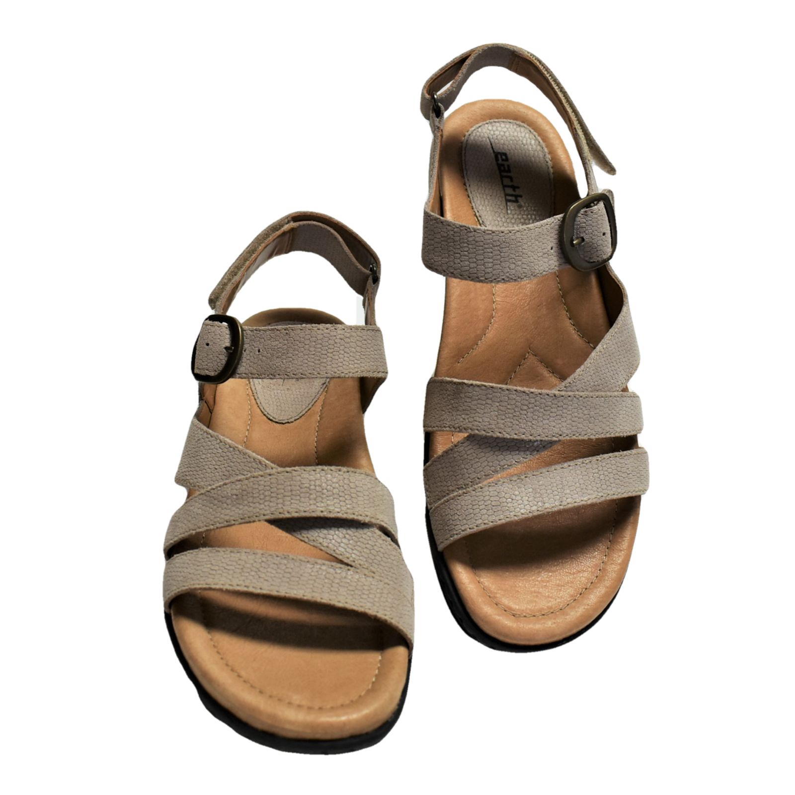 Cuir Sandales M 42 10 Femmes Aster Earth Bride Taupe Plat