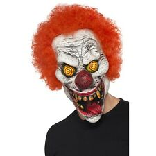 Quality Overhead Twisted Clown Mask w Hair Horror Scary Fancy Dress Halloween