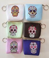 Porte-monnaie Clé Déco Tête De Mort Mexicaine Skull - Calavera Fermeture Zip