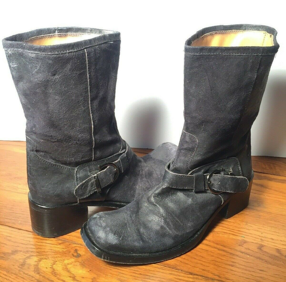 Gaia D'Este Distressed Black Leather Buckle Motorcycle Boots Made Made Made in  37 c3bf40