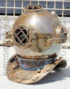 "Diving Helmets Antiques Lovely Morse Us Navy Mark V Diving Divers Helmet Full Brass Full Size 18"" Gift Vh009"