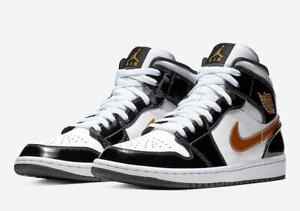 Details about Nike Air Jordan 1 Mid SE Patent Leather Black Gold White 852542 007 size 8 10