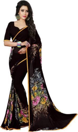 Floral Saree Bollywood Party Wear Indian Pakistani Ethnic Wedding Designer Sari