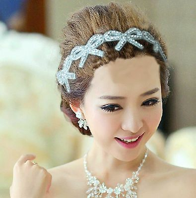 Bow Butterfly Rhinestone beads Bridal Wedding Evening Headband Ribbon Hair Band