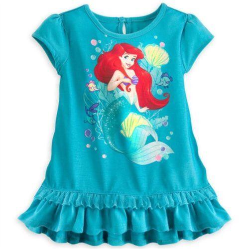 Disney Store Ariel Pajamas Dress PJ Costume Sleepwear Short Set Girl 3 4 5//6 7//8