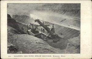 Hibbing-MN-Loading-Ore-Steam-Shovel-Mining-c1905-Postcard
