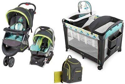 Baby Boy Girl Blue Stroller Car Seat Smart Playard With Mattress