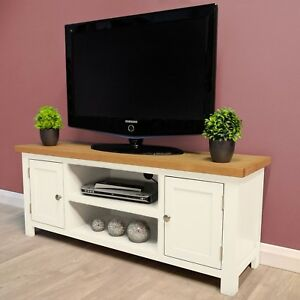 Belgravia White Painted Large Oak Tv Unit Plasma Solid Wood Tv