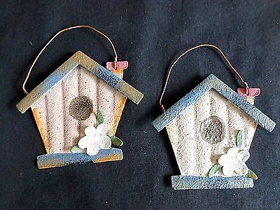 "Birdhouse Ornament 4"" Set of 2 Blue Floral Rustic Tin Distressed"