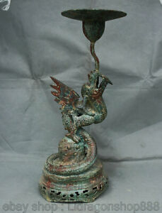 "17.2 ""vieux chinois bronze Ware Dynasty Fly Dragon Beast bougeoir bougeoir"