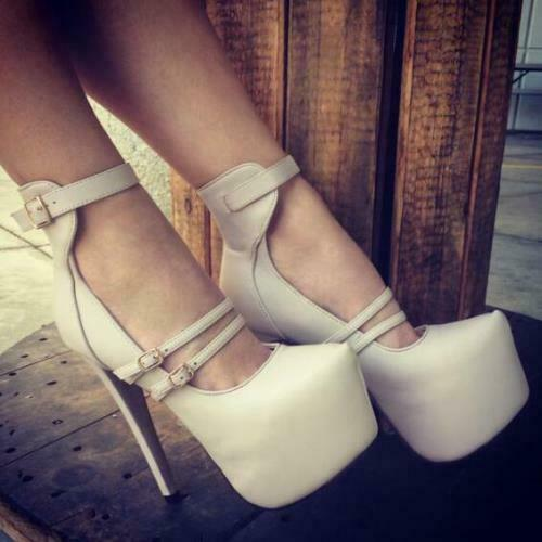 Details about  /US4-20 Womens Pumps Faux Leather Platform High Heels Pumps Party Shoes Plus Size