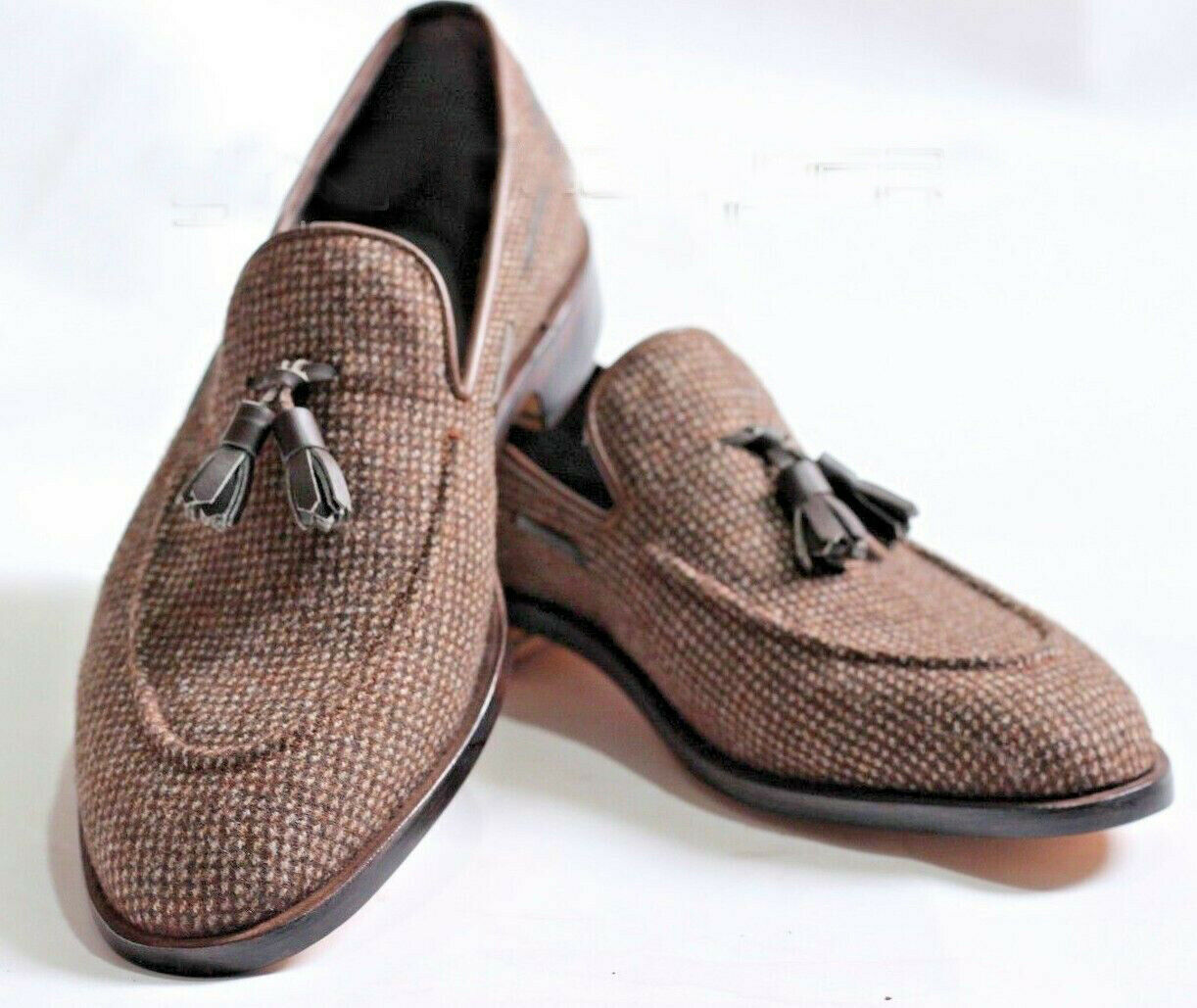 Mens Handmade scarpe scarpe scarpe Tweed Fabric Stunning Loafers & Slip On Tassels Formal stivali 1d0eea