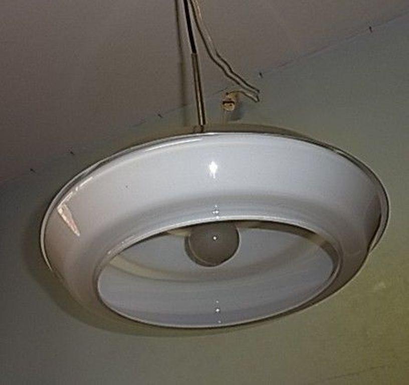 70´s Opal Glas Alu Ufo Lampe Mid Century Panton Eames Time