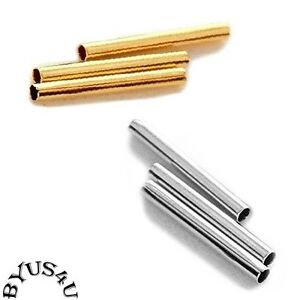 TUBE METAL SPACER BEAD 13x1.5mm ~ 1mm hole GOLD or SILVER PLATED 100pc FINDINGS