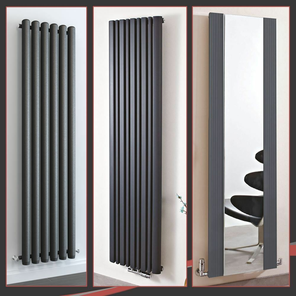 Vertical Design Anthracite Radiateur Ovale colonne double Chauffage Central UK