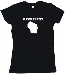 Represent Wisconsin Silhouette Womens Tee Shirt Pick Size Color Petite Regular