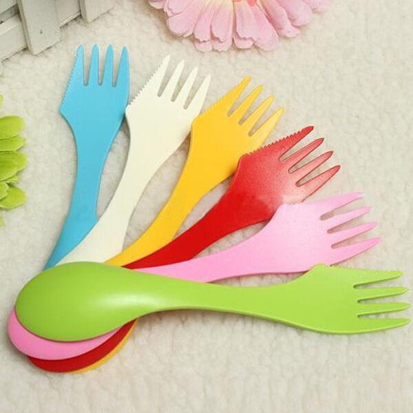 Plastic Camping Hiking Travel Outdoor Spork Utensil Spoon Fork Knife Cutlery