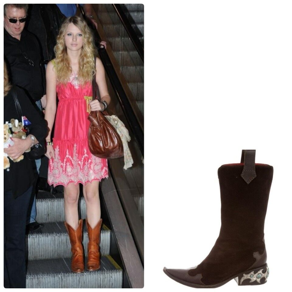 Giuseppe Zanotti Brown Leather Cowboy Riding Boots Heels 38.5 8.5 (fits 38 8)