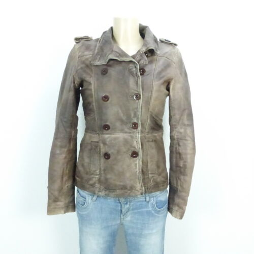 amp; Jagger S Braun Leather Evans Gr 36 Lederjacke Jacket BqwrTqd