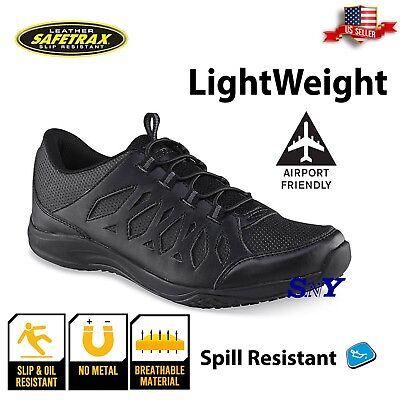 Women's Shoes Women's Black Slip & Oil Resistant Snth Leather Work Shoe Memory Foam Shoes St Comfort Shoes
