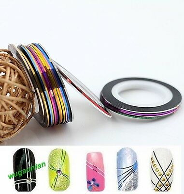 30Pcs Mixed Colors Rolls Striping Tape Line DIY Nail Art Tips Decoration Sticker